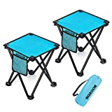 SGODDE Camping Stool, 2 Pack Folding Samll Chair Camp Stool Portable Folding Stool for Outdoor Activities Camping Fishing Hiking Gardening with Carry Bag