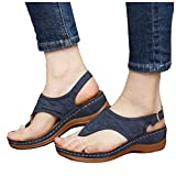 Aniywn Women's Comfortable Thong Sandals T-Strap Backstrap Sandal Orthotic Arch Support Walking Sandals Casual Flat Blue