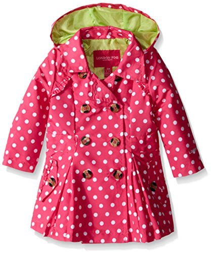 London Fog Baby Girls' Lightweight Polka Dot Trench Coat, Pink, 24 Months