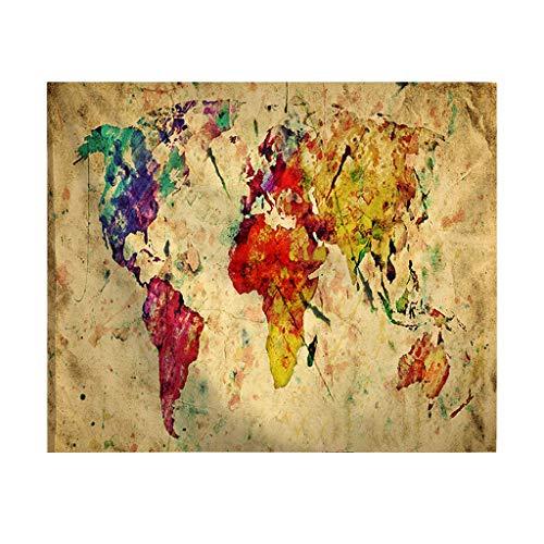 Rosennie Indisch Wandteppich Weltkarte Wandbehang Hippie Tapisserie Jahrgang Tagesdecke Yoga Matte Neu Yoga Meditation Wandbehänge für Wohnzimmer Schlafzimmer Gardinen Strandtuch