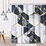 DOSLY IDÉES Marble Black Shower Curtain for Bathroom Decor,Black and White Fabric with Hooks,Waterproof,72x72 in