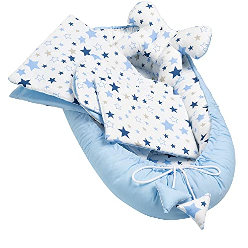 Solvera_Ltd 5 piezas 100 % algodón nido bebé 90 x 50 cm extraíble cama nido manta para gatear bebé (Milkyway azul)