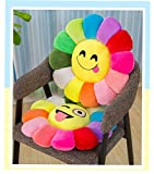 Harshika Home Furnishing Soft Velvet Sunflower Fiber Filled Smiley Cushions,Use in Kids Playing,Room