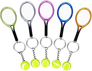 5 Color Mini Tennis Racket with Ball Keychain Key Ring