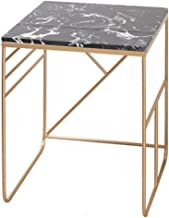 Office Furniture Bedroom Bedside Table, Marble Finish Metal Coffee Table for Hotels Office Living Room Cafe Reception Desk...