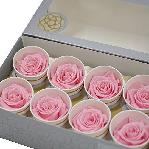 プリザーブドフラワーIPFAKIARAローズ[花材8輪入り/Lサイズ約5-5.5cm]バラ/薔薇/枯れない花/材料/造花(ブライダルピンク)