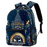 Mochila casual para la escuela de princesa, mochila para niñas y niños, bolsa de libros para mujeres y niñas, árbol de Navidad dorado, Emblemas de Navidad etiquetas con fondo azul 10, Medium