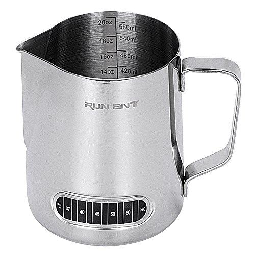 Pichet à lait, RUN ANT de lait en acier inoxydable pichet à mousse avec thermomètre pour café, cappuccino, espresso, latte art (600ml/20oz)