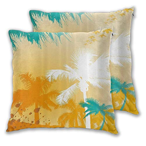 WINCAN Square Cushion Cover 60x60cm 2 pieces Set,Palm Silhouette Paradise And Fashionable Retro Patterns Marigold Waterduck Blue And White Design,decorative Throw Pillow Case for Couch Sofa Chair Bed