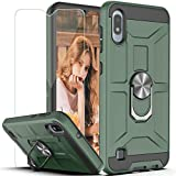 Galaxy A10 Case Galaxy M10 Case with HD Screen Protector YmhxcY 360 Degree Rotating Ring Kickstand Holder Dual Layers of Shockproof Phone Case for Samsung Galaxy A10 6.2'-ZS Dark Green