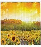 ABAKUHAUS Sonnenblume Duschvorhang, Goldenes Sonnenblumenfeld, Wasser Blickdicht inkl.12 Ringe Langhaltig Bakterie & Schimmel Resistent, 175 x 220 cm, Orange gelbe