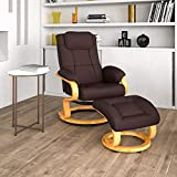 Flash Furniture Contemporary Adjustable Recliner and Ottoman with Swivel Maple Wood Base in Brown LeatherSoft
