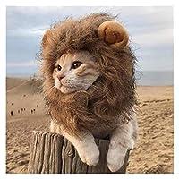 クールなペットヘルメットライオン豪華な耳の犬のヘルメットペットの帽子小さい中灯のためのヘッドペット製品猫の帽子の誕生日パーティー衣装猫犬のバイキングサイクリング(色:茶色、サイズ:L)/ 173 (Color : Brown, Size : L)