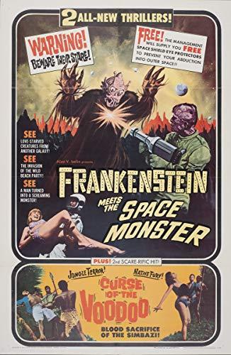 Berkin Arts Cartel de película Lámina giclée sobre Lienzo-Cartel de la película Reproducción Decoración de Pared(Frankenstein se Encuentra con la maldición del Monstruo Espacial del vudú 2) #XFB