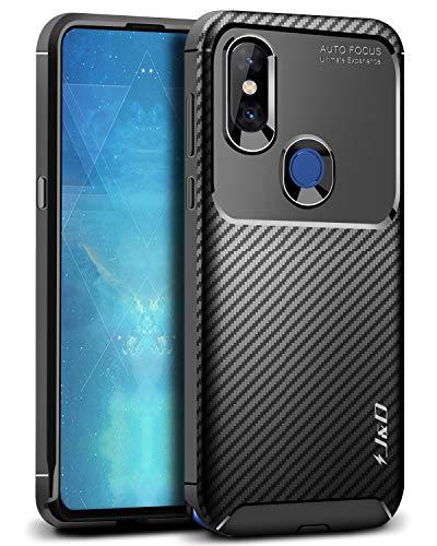 JundD Kompatibel für Xiaomi Mi Mix 3 Hülle, [Carbon Fiber Pattern] [Leichtgewichtig] [Fallschutz] Stoßfest TPU Slim & Anti-Kratzer Weich Hülle für Xiaomi Mi Mix 3 - Schwarz