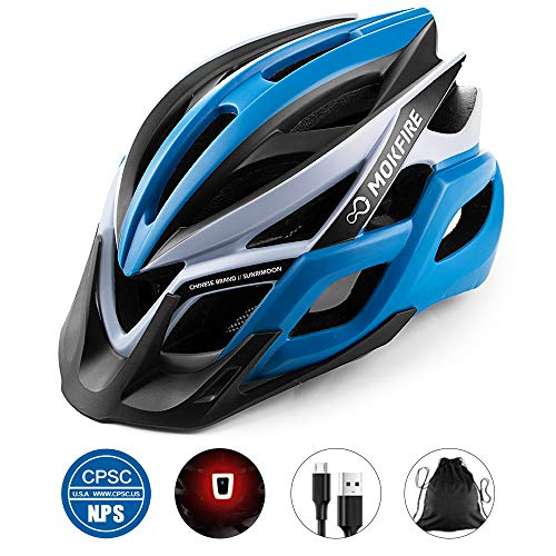 MOKFIRE Adult Bike Helmet with Rechargeable USB Light, Bicycle Helmet...