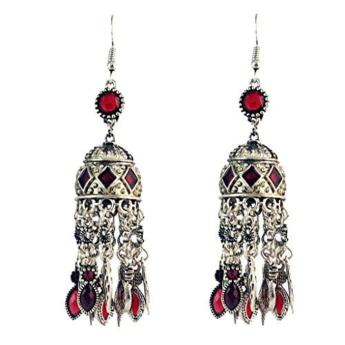 Nobranded 1 Par de Pendientes de Piedras Preciosas con Borlas Largas Bohemias de Moda para Mujer - Rojo