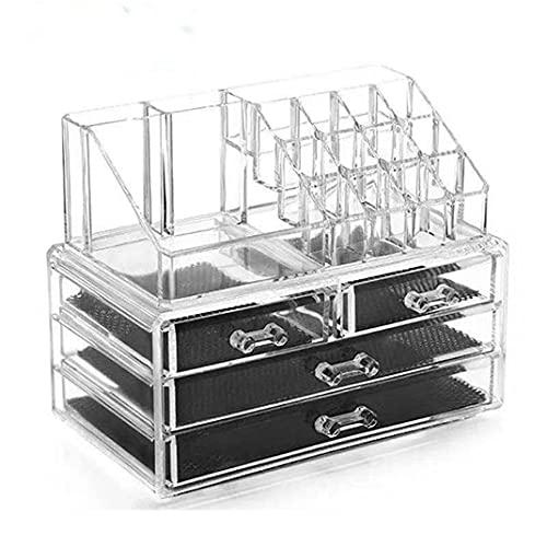 POO Caja de Almacenamiento de acrílico Transparente Multifuncional, Estante de joyería para cosméticos, Organizador de Almacenamiento de baño de Escritorio de Gran Capacidad