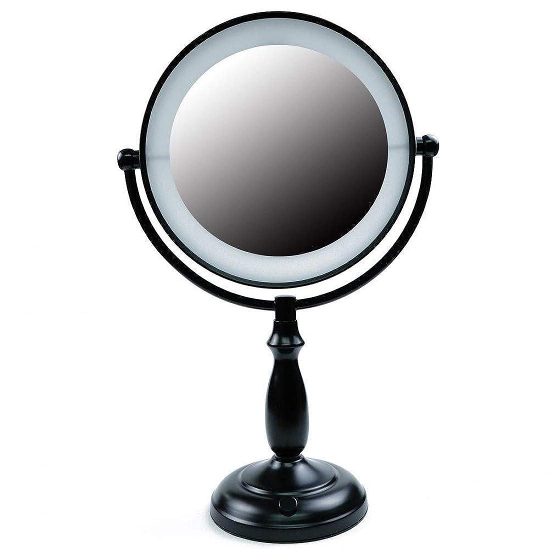 砲撃虹過度のZXCVBNM 照明付き化粧鏡7.5インチ化粧鏡倍率1倍/ 10倍拡大鏡ダブルナチュラルホワイトライトコードを運営ライトACアダプターやバッテリーとミラーの両面で