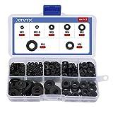 XTVTX 500 PCS Juego de arandelas espaciadoras planas chapadas en nailon negro anillo métrico de juntas (M2/M2.5/ M3/M4, M5/M6/M8)