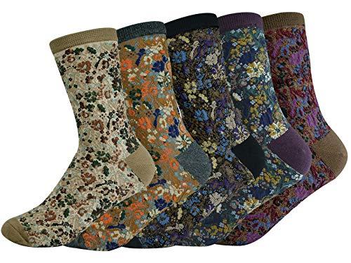 sigando Bunte Lustige Socken Baumwoll Geschenke Damen, 5 Paare Weiche Warme Strick Motivsocken