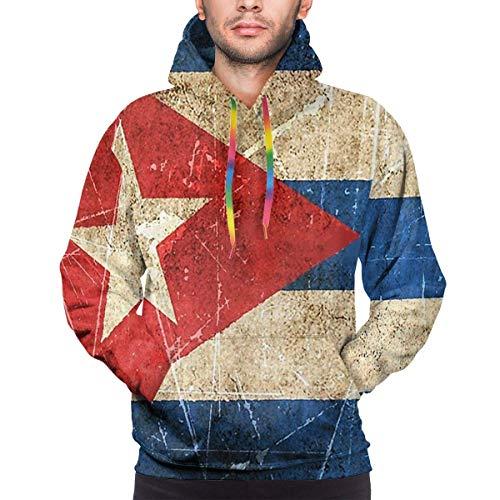 ZQHRS Sudaderas con Capucha de Moda para Hombre Sudaderas con Bandera Cubana Envejecida y Rayada Vintage con Bolsillo