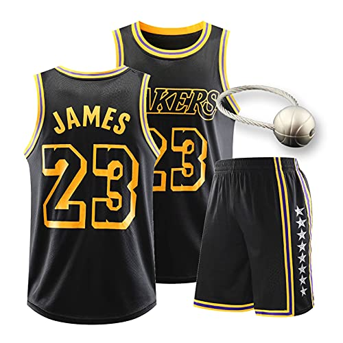 WXFO Juego de Jersey para Hombres de Baloncesto Laker, Kõbê ḃRyǎNT 8/24#, ĺẽḃRÖň ĵàmẽš 23# Jerseys con Llavero de Baloncesto, Tops de Deportes sin Mangas de Malla borda 23#-M