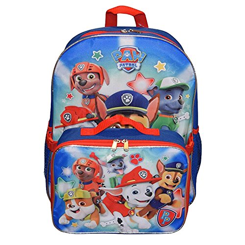 Nickelodeon Paw Patrol 16' Large School Backpack Book Bag With Lunch Box New USA Seller