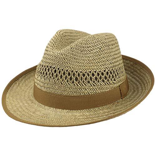 Lipodo Classic stro Bogarthoed dames/heren - Zonnehoed Made in Italy - Lichte strohoed met ripsband - Zomerhoed met brede rand - Luchtige hoed dankzij ingevlochten ventilatie - L (58-59 cm) naturel