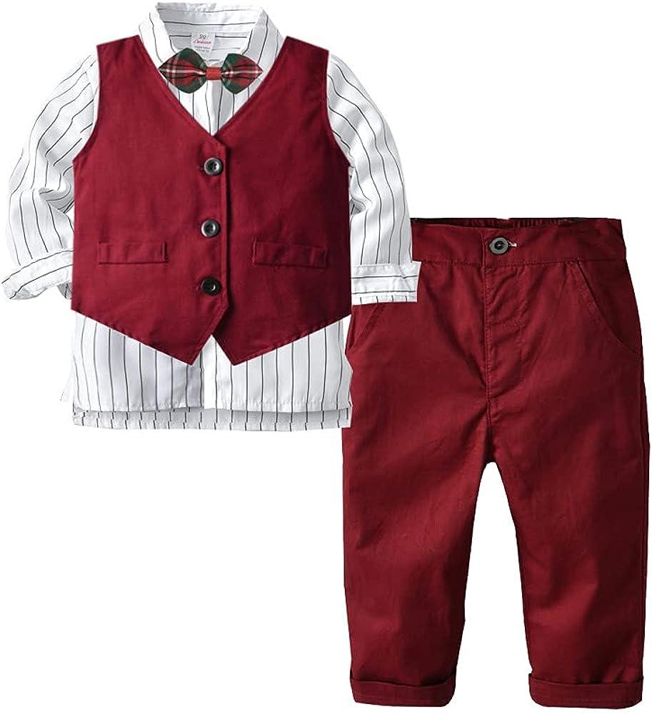 Boy Clothes Set Spring Boys Formal Suit Set 4 Pieces Plaid Formal Suit Set,Vest+Pants+Long Sleeve Shirt+Bow Tie,2-7Years