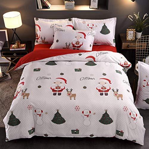 Sallypan Literie de Noël Set Housse de Couette avec Pillowcases Blanc Père Noël et l'arbre de Noël Elk Accueil Textiles 3Pcs,King260x230cm