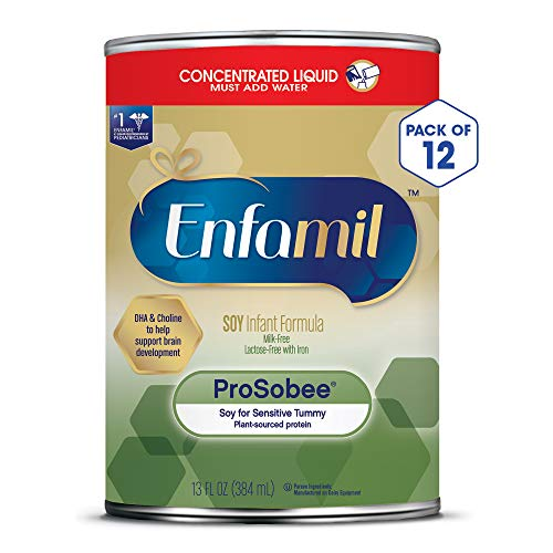 Enfamil ProSobee Soy Sensitive Tummy Baby Formula Dairy-Free Lactose-Free Milk-Free Plant Protein Concentrated Liquid Formula 13 fl. oz. (Pack of 12) Omega 3 DHA & Iron, Immune & Brain Support