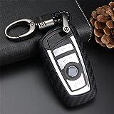 M.JVisun Funda suave para llave de coche para BMW Serie 1 2 3 4 5 6 7 Serie X3 X4 M2 M3 M4 M5 M6 Silicona TPU Fibra de carbono patrón cubierta – Negro – Llavero de tejido