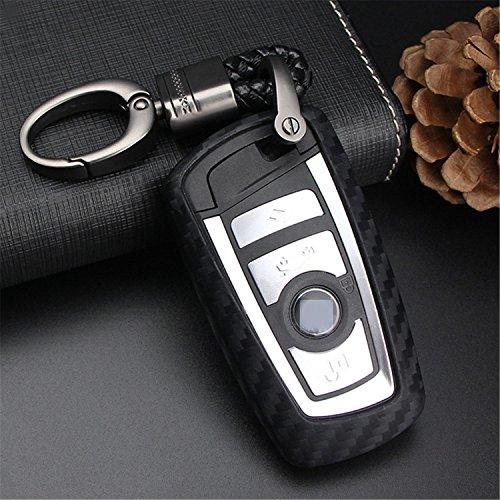 M.JVisun Morbido Silicone TPU Chiave Auto Protettiva Custodie Cover per BMW 1-Serie 2 3 4 5 6 7 Serie X3 X4 M2 M3 M4 M5 M6 - Nero - Intrecciato Portachiavi