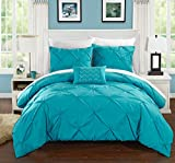 Chic Home Daya 4 Piece Duvet Cover Set Ruffled Pinch Pleat Design Embellished Zipper Closure Bedding, King, Turquoise