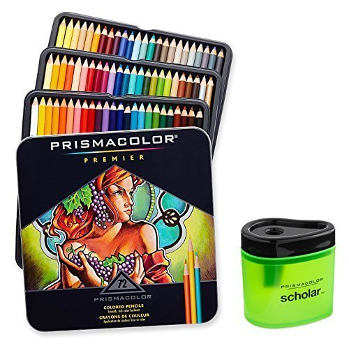 Prismacolor 3599TN Premier Soft Core 72 Colored Pencils + 1774266 Scholar Colored Pencil Sharpener; Perfect For Layering, Blending and Shading; Soft, Thick Cores Create a Smooth Color Laydown