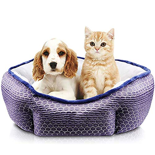 YUEBAOBEI Pet Bed, Comfortable Puppy Dog Bed with Round Detachable Soft Cushion for Two Sides Use Washable, Easy To Clean, for Small, Medium Large Pets