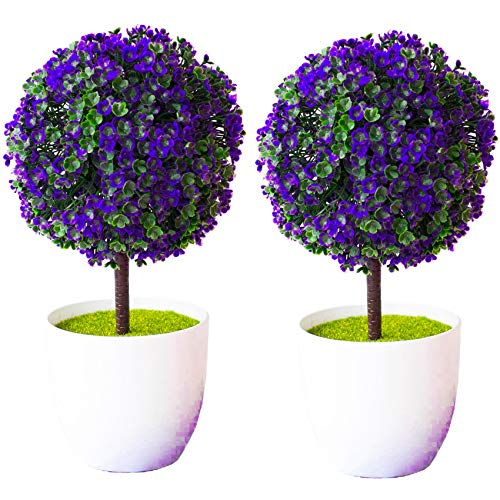 Flores artificiales en maceta blanca, plantas falsas, decoración de boda en casa oficina con macetas blancas para decoración del hogar, jarrón de oficina, hogar y amigos..