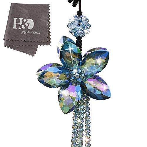 H&D Kristall Farbe Flower innen Zubehör Charms Anhängern für Auto Rückspiegel hängende Dekoration mit Quaste