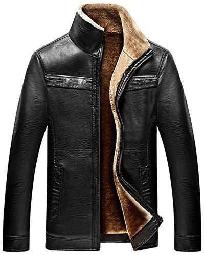 chouyatou Men's Winter Full Zipper Thick Sherpa Lined Faux Leather Jacket (Black, X-Large)