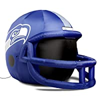 4 feet tall Internal LED lights illuminate the helmet at night Deflates easily Officially licensed Comes with lawn stakes