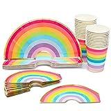 Platos de Papel recortados en Forma de Arcoíris, Vasos, Servilletas Recortadas para 24 con lámina Dorada