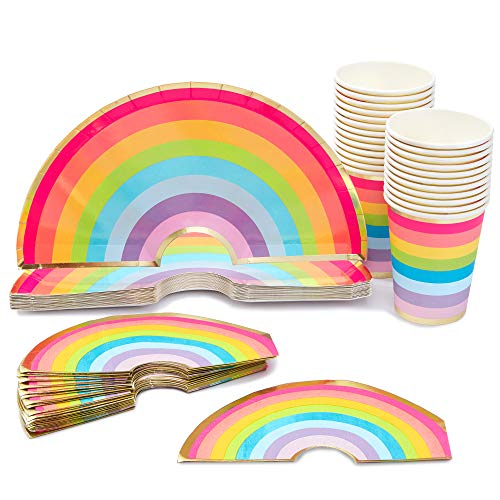 Blue Panda Rainbow Party Supplies - Platos, tazas, servilletas