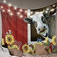 タペストリー 牛 向日葵 農場 田舎風 インテリア おしゃれ 布ポスター 窓カーテン ファブリック装飾用品 壁飾り壁掛け モダンなアート 部屋飾り 部屋模様替え 個性ギフト 幅150cm丈230cm