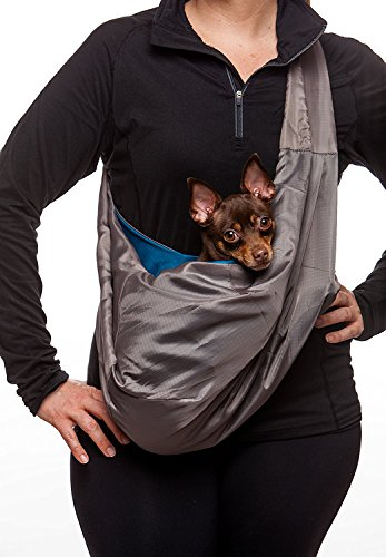 Monkey Mat - Fur-EEZ Pet Sling Carrier   Ultra Portable and Hands-Free Sling - Attached Small Pouch, Collar Latch, and Loop for Dogs, Cats, Bunnies Under 12 lbs