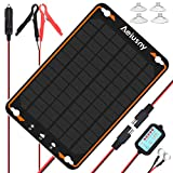 Aeiusny 12V Solar Car Battery Trickle Charger&Maintainer 5W Solar Panel Power Kit Portable Backup...