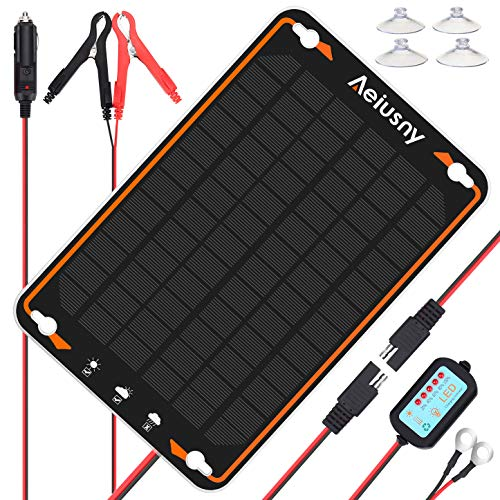 Aeiusny 12V Solar Car Battery Trickle Charger&Maintainer 5W Solar Panel Power Kit Portable Backup for Automotive RV Marine Boat Motorcycle Truck Trailer Tractor Powersports Snowmobile Farm Equipment