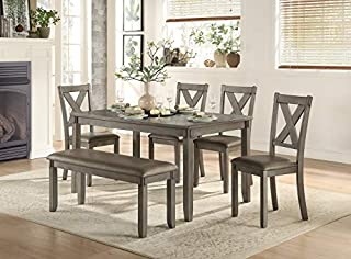 Homelegance 6-Piece Pack Dinette Set, Gray (B07P3D2BN5) | Amazon price tracker / tracking, Amazon price history charts, Amazon price watches, Amazon price drop alerts
