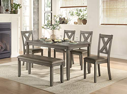 Homelegance 6-Piece Pack Dinette Set, Gray