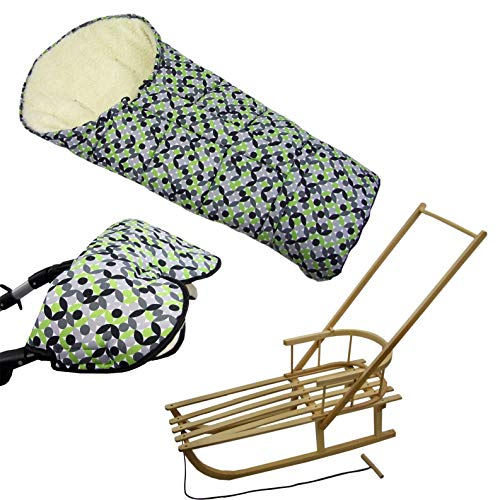 BambiniWelt24 BAMBINIWELT combi-aanbieding slee + schuifstang + moff-voetenzak slee handwarmer (mozaïek)